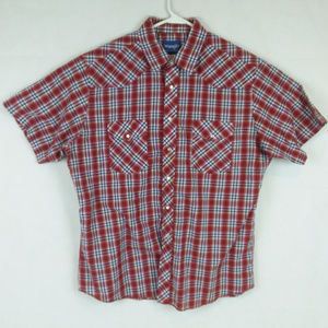 Red Plaid Checks Pearl Snap Western Country Shirt